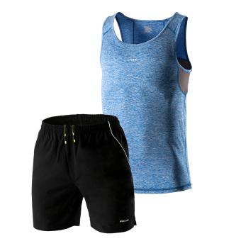 Cepat Kering Bernapas Tanpa Lengan Vest Kebugaran Room Basket Pakaian Kebugaran Pakaian (Biru pakaian dan celana panjang hitam) (Biru pakaian dan celana panjang hitam)