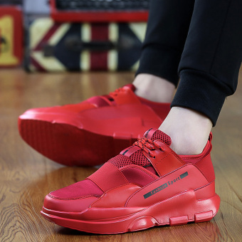 Jual Chaonan Korea Fashion Style peninggi yang berat itu sepatu sepatu siswa sepatu pria (8191 merah) Terpercaya