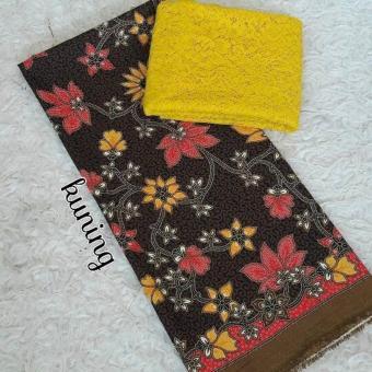 cherry - set kain satin batik pitaloka merah dan brokat sofia - kuning kebaya bali murah