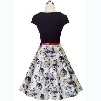 cicilia dress fashion wanita cantik-bunga hitam