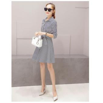cicilia dress fashion wanita cantik-garis hitam