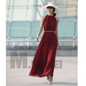 Cicilia dress fashion wanita cantik -polkadot maroon