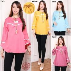 Cj collection Atasan blouse kemeja tunik wanita jumbo shirt blus long tunik Celia - pink