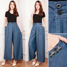 Cj collection Celana jeans kulot panjang wanita jumbo long pant Prisa