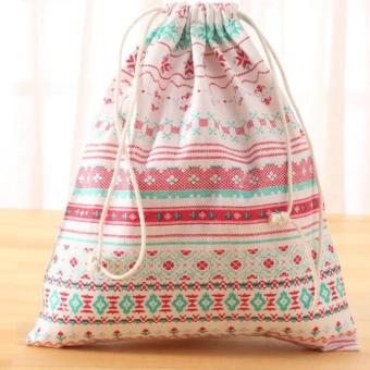Coconiey Fashion Unisex Backpacks Printing Bags Drawstring BackpackPink - intl