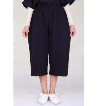 Cotton Bee Apparel Pallazo Midi Cullote Pants - Black