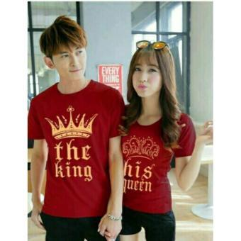 COUPLELOVER- KAOS COUPLE THE KING QUEEN MAROON PD (PRIA+WANITA) | T