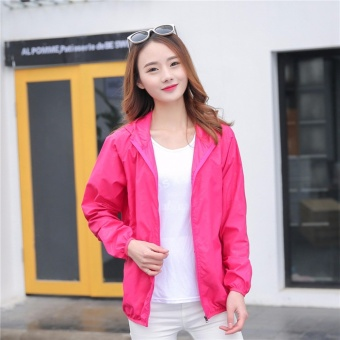 Couples Lightweight Rainwear Sunscreen Outdoor Hoodie Cycling Running Windbreaker Jacket - intl
