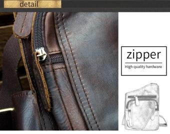 COWATHER Top Sapi Kulit Asli serbaguna Kasual Bahu Pria Messenger Bags untuk Pria Padat Zipper Crossbody Tas Kopi-intl - 5