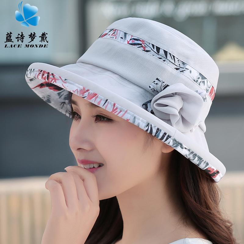 Curling perempuan UV matahari topi musim panas matahari topi (Abu-abu)