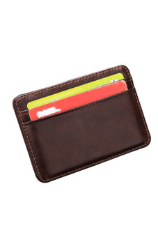 Cyber Men's Leather Magic Wallet Card Holder Money Clip Purse (Brown)