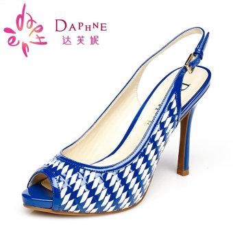 Daphne timbul kulit bergaris setelah sandal kosong sepatu wanita (Biru)