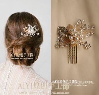Daun Emas Amerika Batu Kristal Air Mempelai Wanita Kinerja Tusuk Konde Rambut Jepitan Rambut Model Sisir
