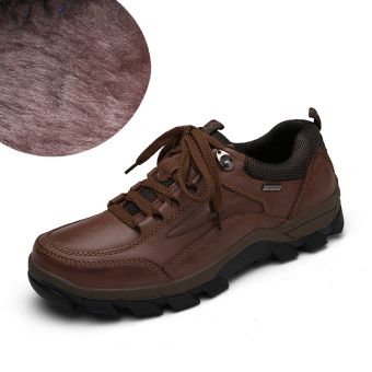 PENAWARAN Dekesen pria kulit ini luar ruangan sepatu kasual sepatu pria (Model laki-laki + Coklat ditambah rambut) TERLARIS