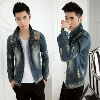 Denim Jacket Men Ripped Holes Jeans Coats Male Slim Fit Motorcycle Windbreak Jackets For Men -Blue - intl