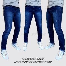 DFS Celana jeans denim skinny / slimfit / pensil pria – BIOWASH DESTROY SPRAY