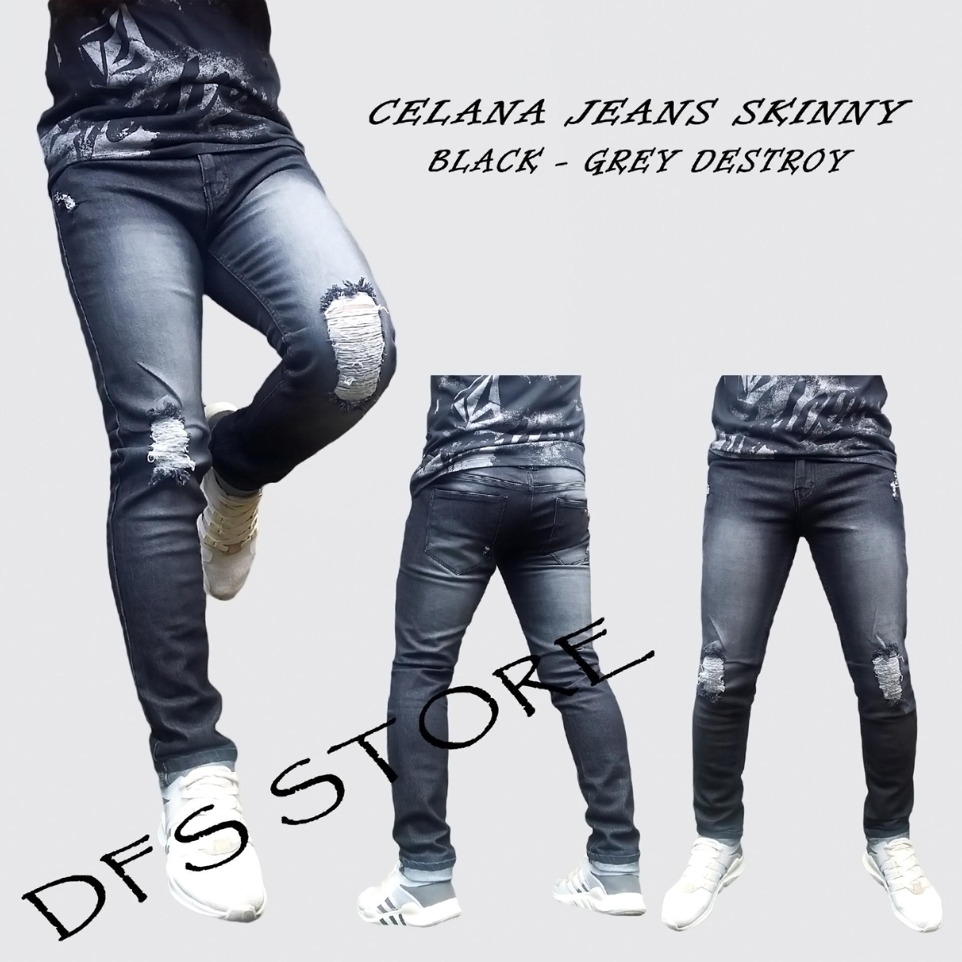 Harga Penawaran Dfs Celana Jeans Skinny Slimfit Pensil Pria Bg Formal Chino Wool Black Scrub Destroy