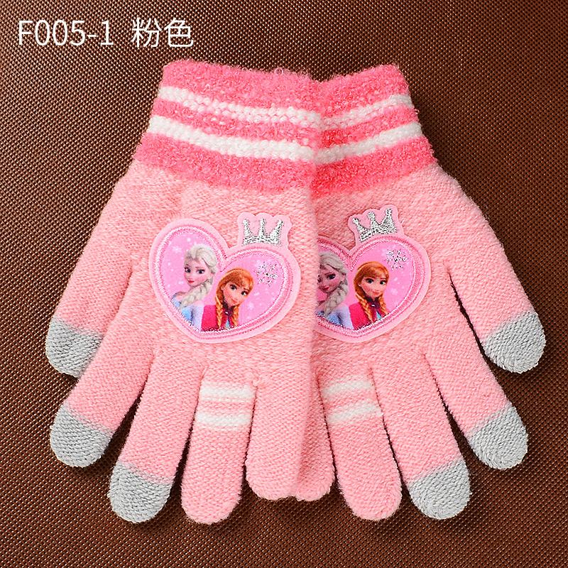 Disney layar sentuh anak sarung tangan (F005-1 dari salju dan es merah muda