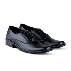 Distro Bandung VR 392 Sepatu Formal Pria Untuk Kerja Kantor Kulit Sintetis- Hitam
