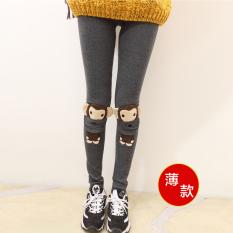 Ditambah beludru musim gugur dan musim dingin pakaian gadis SMA bottoming celana (Bagian tipis abu