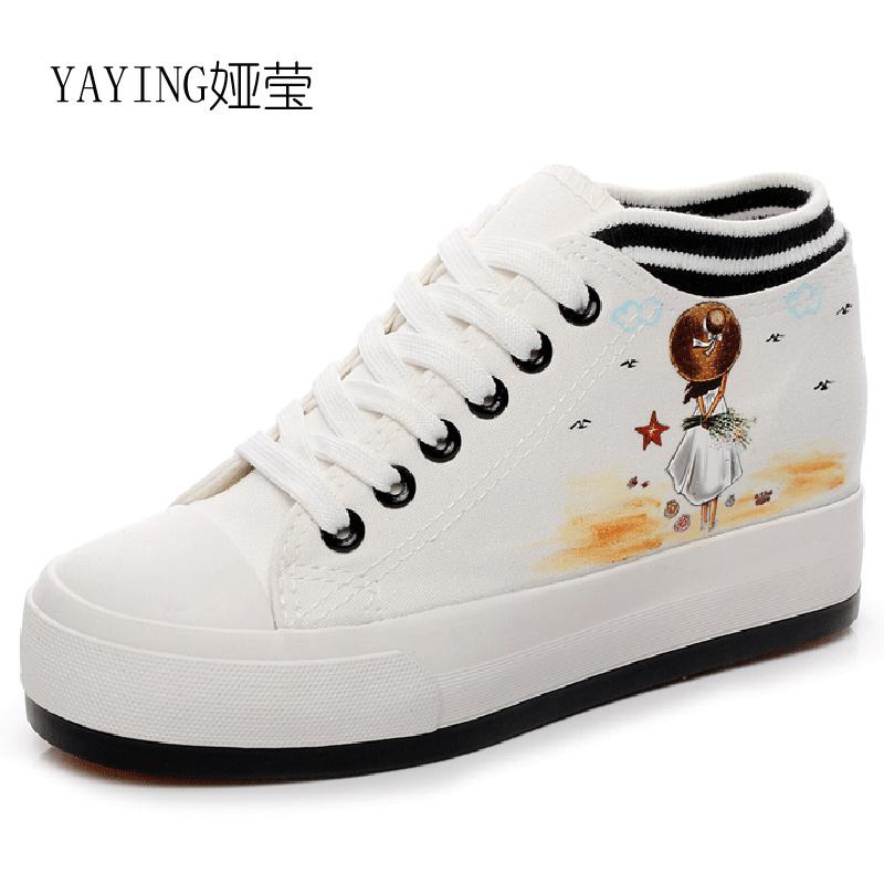 Flash Sale Ditambah beludru perempuan sepatu berlapis kapas siswa SMA kanvas sepatu (Putih renda meningkat