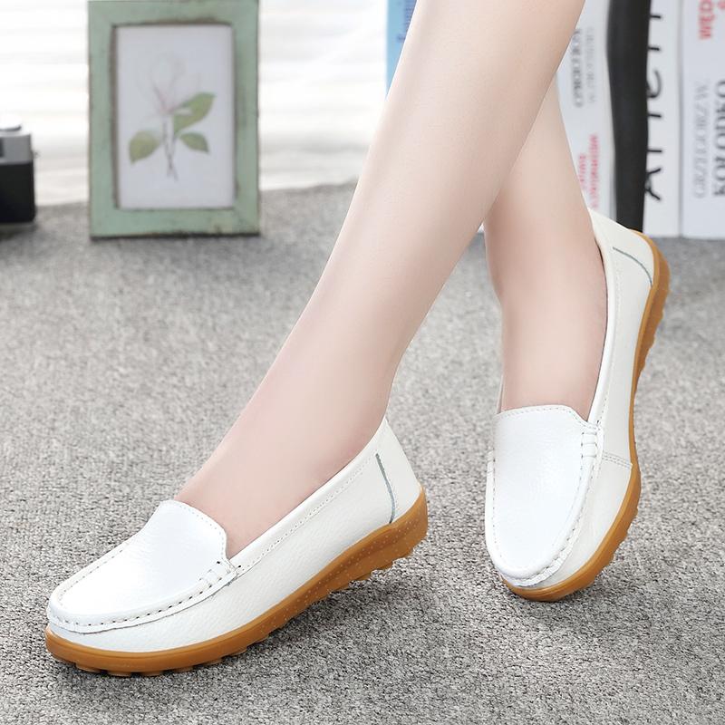 Ditambah beludru sepatu datar ibu sepatu (6708 putih)
