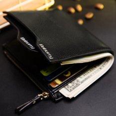 Dompet Baru Pria Anti RFID Dompet Pendek dengan Zipper - Hitam