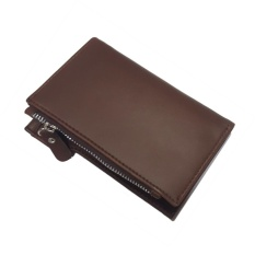 Dompet Fashion Pria Uncle Men Wallet Short Purse With Coin Bag PU Synthethic Leather - Brown