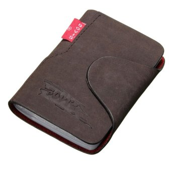 Dompet Kartu Pria Men Leather Business Credit Card Case ID Pocket Mini Wallet Holder Bag 20 Slots Dark Coffee