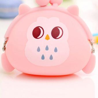 Dompet Koin Silikon Mini Cetak Burung Hantu Ganti Tas Dompet Gantungan Kunci Pouch Berwarna Merah Muda