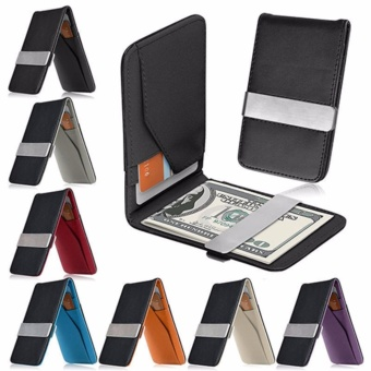 Harga Dompet Money Clip Ultra Slim Men Wallet Card Holder Leather Kulit -Hitam