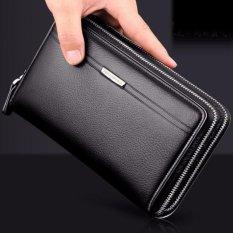 Dompet Pria Bisnis Panjang Designer Double Ritsleting Kulit Pria Dompet Merek Mens Clutch Tas Praktis Mewah Dompet (hitam) -Intl