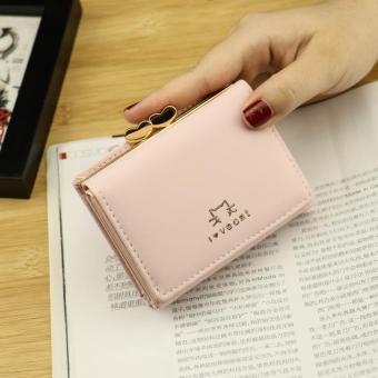 Dompet Wanita Sederhana dan Elegan Sederhana Versi Korea (Merah muda)
