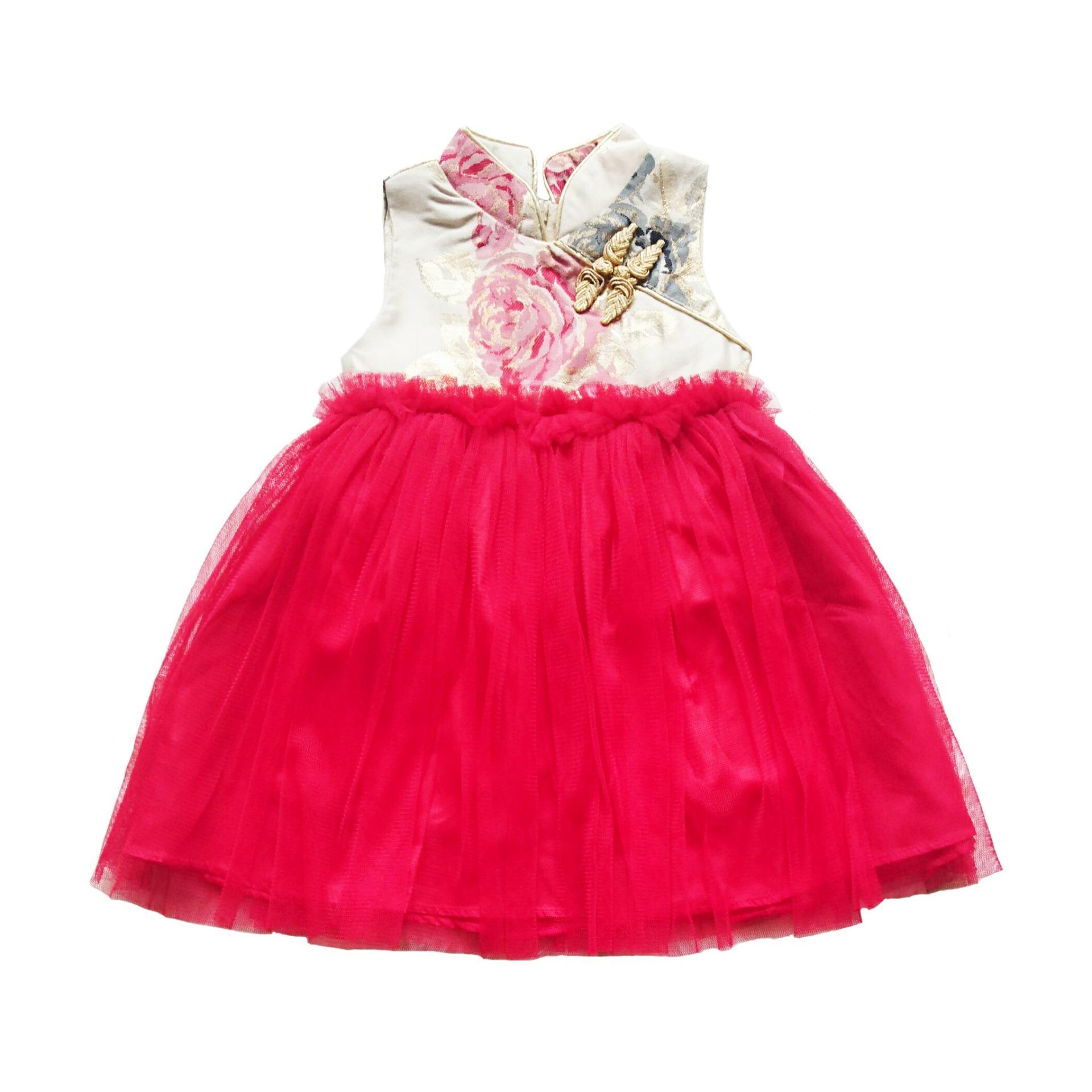 Dress Cheongsam Anak Cream Flower Tutu Red