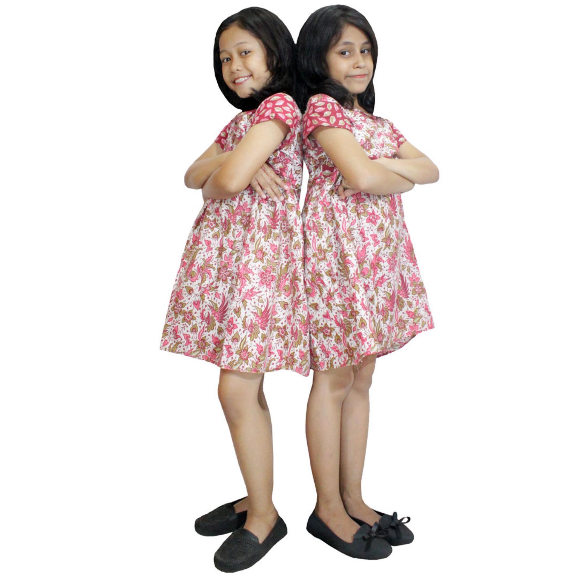 Dress Merah Batik Anak, Baju Tidur Anak, Piyama Anak, Ukuran XL Usia 5-6 Tahun (DKA003-01)