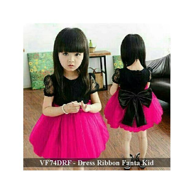 Dress Pesta Anak Murah - Pusat Baju Anak - VF74DRF - Dress Ribbon Fanta fit 3-5 tahun