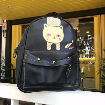 EL PIAZA Mini Ransel Kulit Cat Fish Black Ransel Mini Ransel LucuTas Ransel Sling Bag Tas
