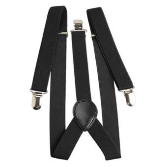 Elastic Brace Suspender Y Back Clip-on Belt for Overall (Black)