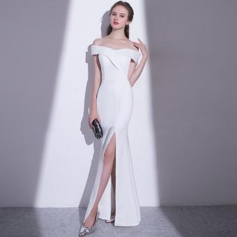 Anggaran Terbaik Elegan Putri Putih Perempuan Baru Pesta Gaun Gaun Malam (Elegan Putih Gaun) Penawaran Bagus