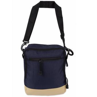 Elfs Shop - Tas Selempang Pria Men's Sling Crossbody Shoulder Bag Canvas Leather Kulit-Biru Dongker - 2