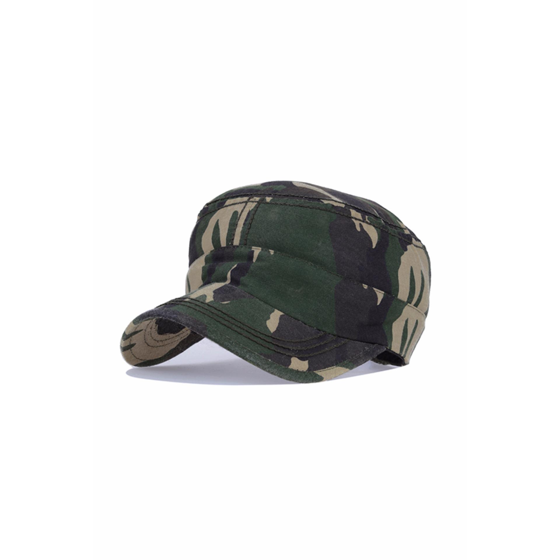 ... Elfs Shop - Topi Pria Polos Komando Motif Army / Military Canvas Cap-Hijau Tua ...