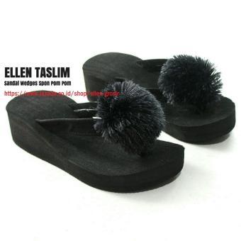 Ellen Taslim SPN-01 Sandal Wedges Spon Pompom Anak Anak / Remaja Size 31 s.d