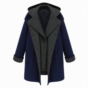 harga EOZY gaya Eropa wanita berkerudung wanita jaket bergaya mantel bulu lembut hangat gugur musim dingin jaket katun tebal mantel (biru dan abu-abu) - International Lazada.co.id