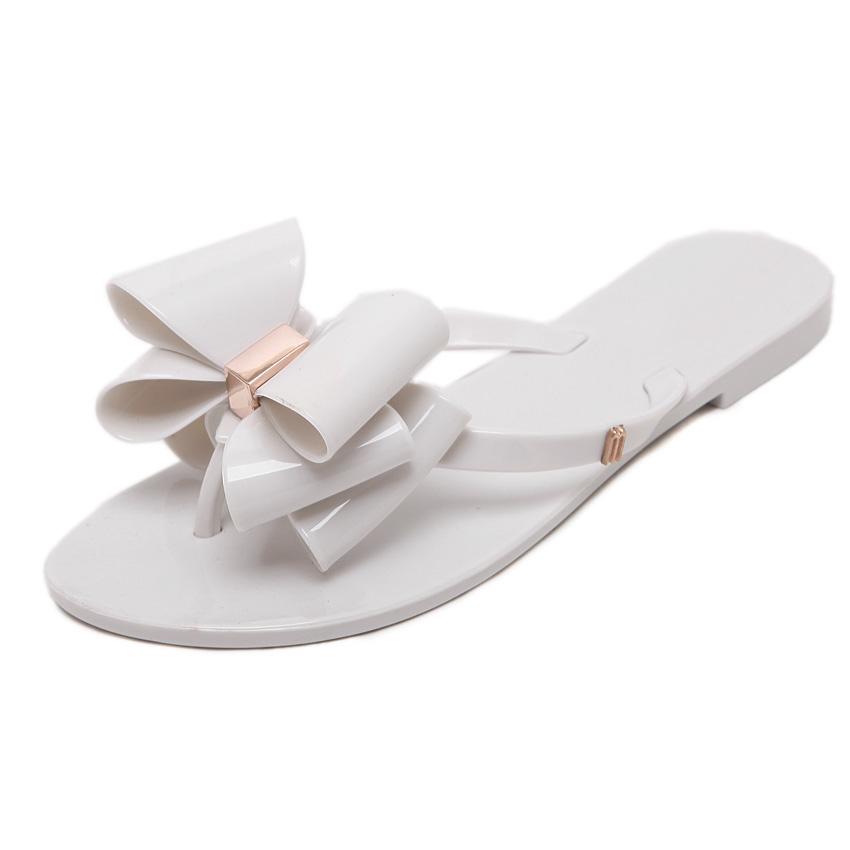 Eropa dan Amerika pakaian luar bersol lembut jelly sepatu dengan sandal datar dan sandal (Putih