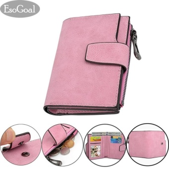 Harga EsoGoal Fashion Women Frosted Buckle Short Wallet , Pink - intl