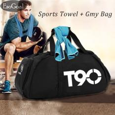EsoGoal Gym Bag and Cooling Towel,Duffle Bag Including Shoes Compartment,Cooling Chilly Towel for Sports, Fitness, Gym, Yoga, Pilates, Travel, Camping & More