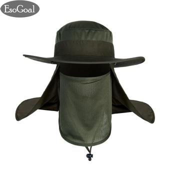 EsoGoal Summer Sun Hat Protection Caps Flap 360?Outdoor Fishing Hat with Removable Neck Face Flap Cover, UPF 50+ Cap For Men And Women(Green) - intl