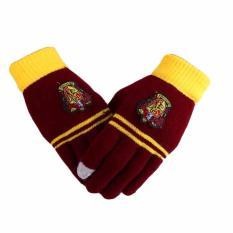 Fancyqube Harry Potter Karena Merajut Layar Sentuh Magic Sarung Tangan Gryffindor Lencana Sekolah Keempat Sarung Tangan-Internasional