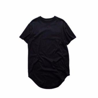 Fancyqube Men Short Sleeve Extended Hip Hop T Shirt Oversized Hip Hop Swag Clothes Black -