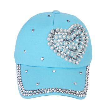 Fang Fang Anak Gadis Wanita Jantung Bentuk Diamond Topi Bisbol Topi-Biru- Intl